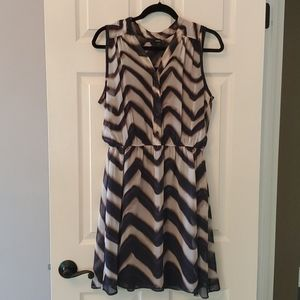Aqua Purple and Tan Cheveron Sleeveless Dress - L